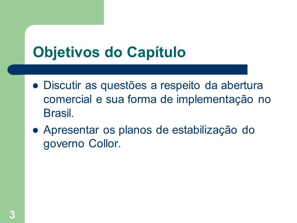Objetivos do Capítulo Discutir as questões a respeito da abertura comercial e sua forma de implementação no Brasil.