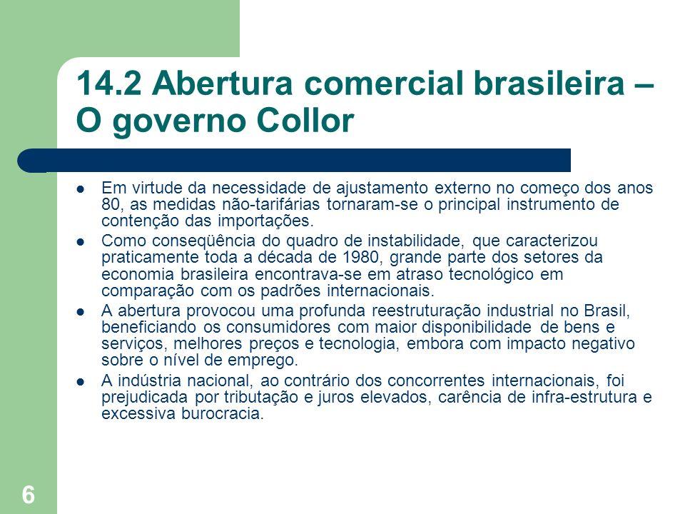 14.2 Abertura comercial brasileira – O governo Collor
