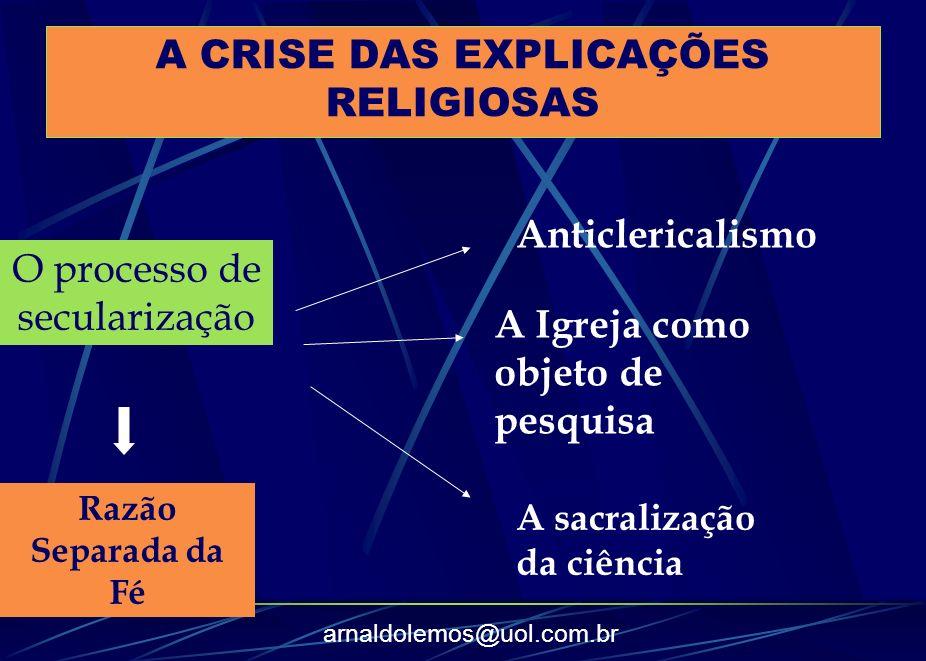 A CRISE DAS EXPLICAÇÕES RELIGIOSAS