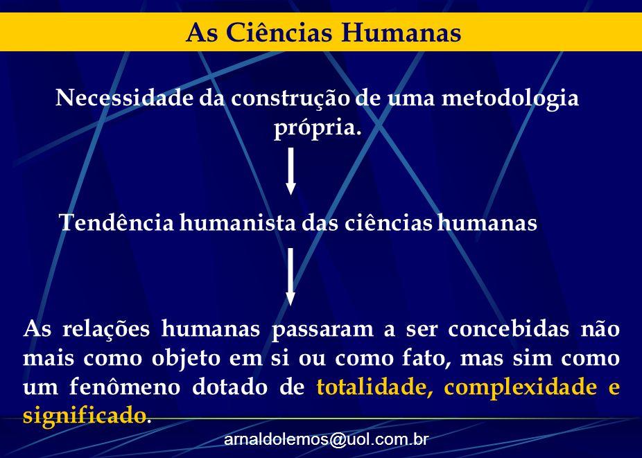 As Ciências Humanas Necessidade da construção de uma metodologia própria. Tendência humanista das ciências humanas.