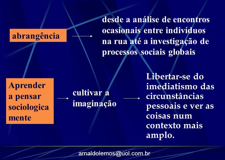 desde a análise de encontros ocasionais entre indivíduos na rua até a investigação de processos sociais globais