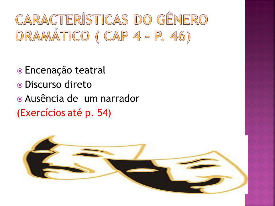 Características do gênero dramático ( Cap 4 – p. 46)