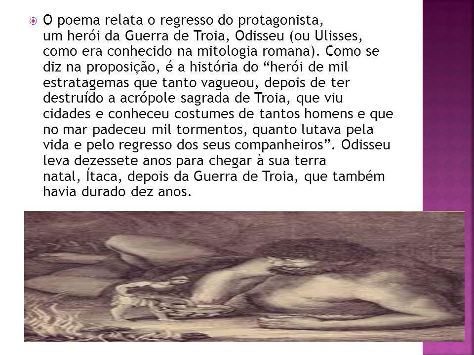 O poema relata o regresso do protagonista, um herói da Guerra de Troia, Odisseu (ou Ulisses, como era conhecido na mitologia romana).