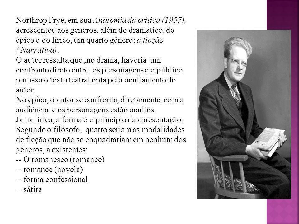 Northrop Frye, em sua Anatomia da crítica (1957), acrescentou aos gêneros, além do dramático, do épico e do lírico, um quarto gênero: a ficção