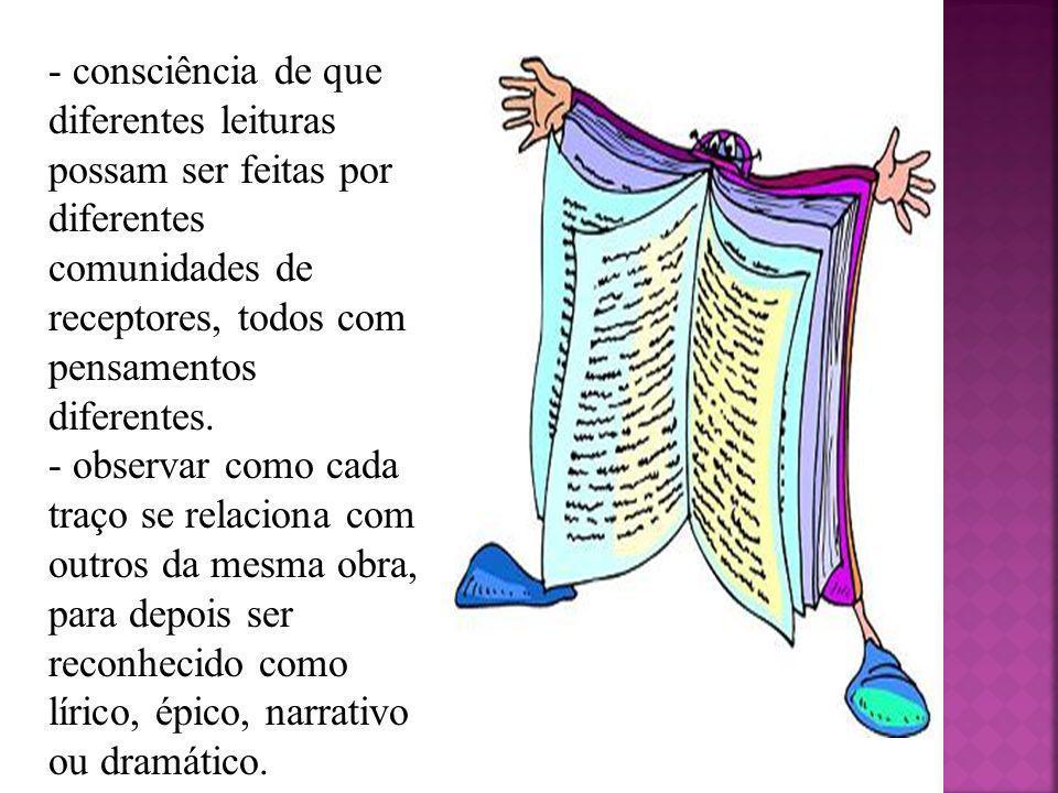 - consciência de que diferentes leituras possam ser feitas por diferentes comunidades de receptores, todos com pensamentos diferentes.