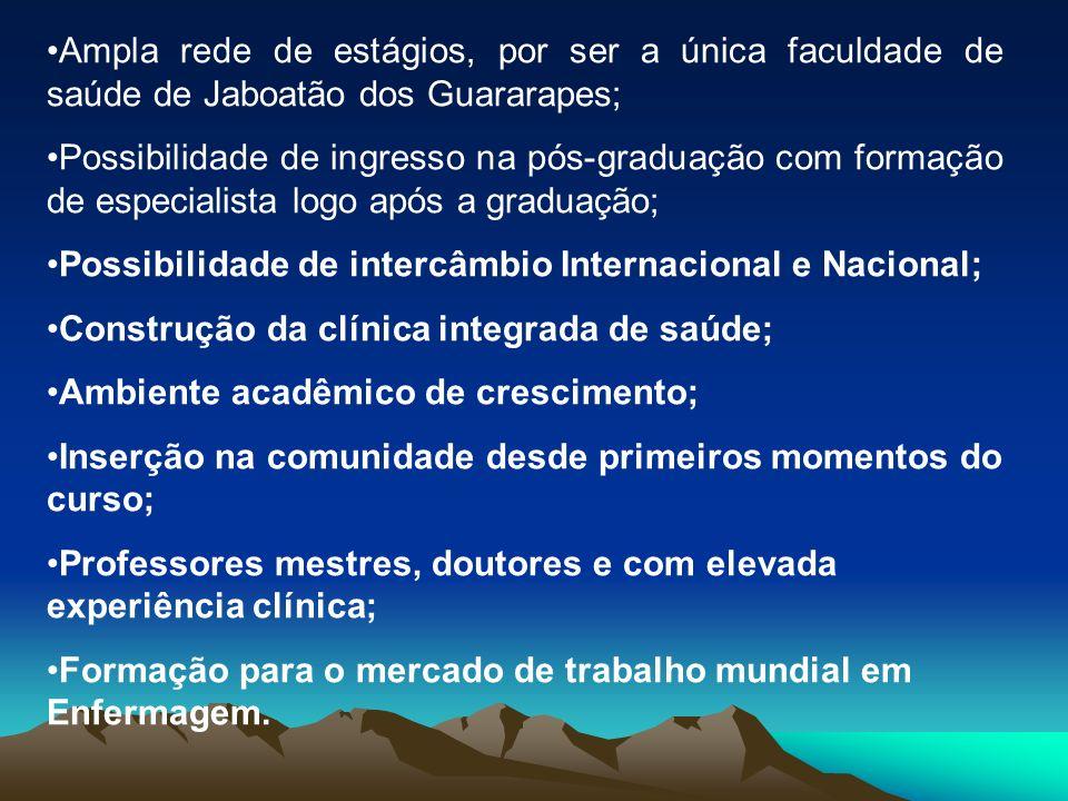 Ampla rede de estágios, por ser a única faculdade de saúde de Jaboatão dos Guararapes;