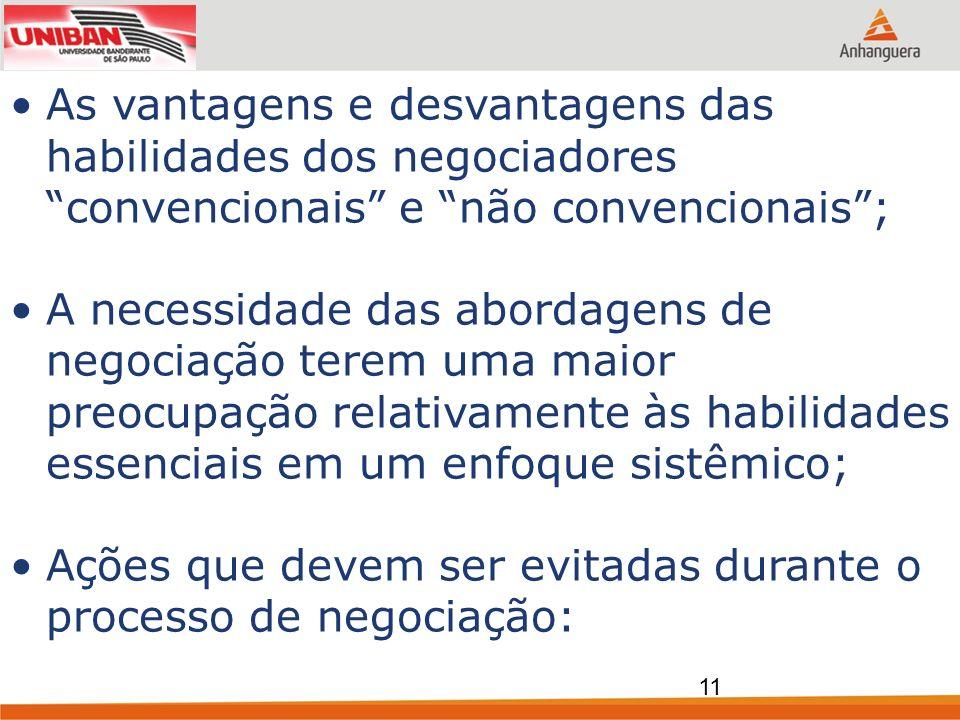 As vantagens e desvantagens das habilidades dos negociadores convencionais e não convencionais ;