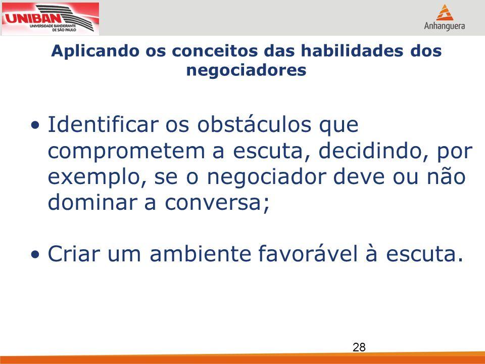 Aplicando os conceitos das habilidades dos negociadores