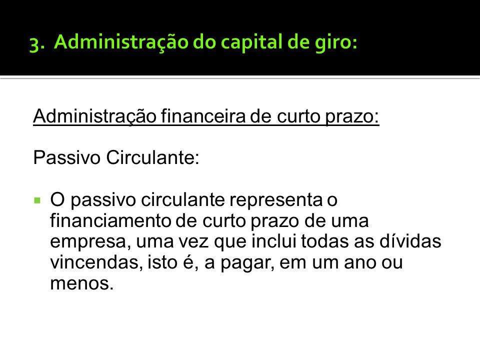 3. Administração do capital de giro: