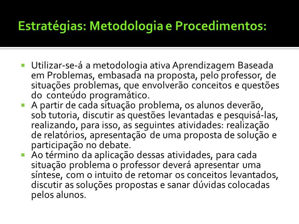 Estratégias: Metodologia e Procedimentos: