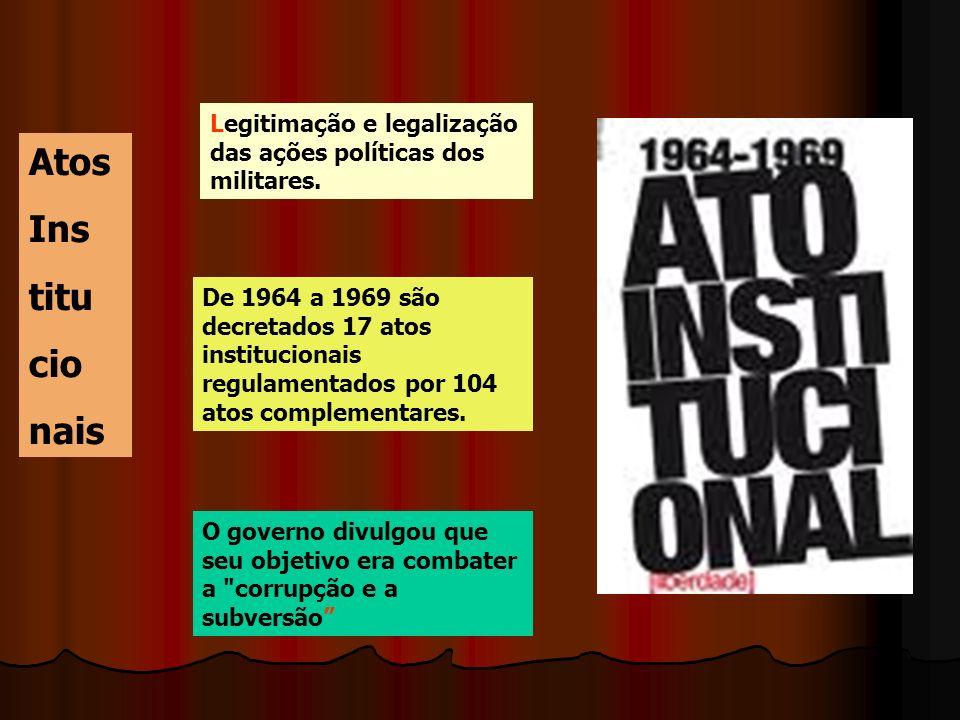 Legitimação e legalização das ações políticas dos militares.
