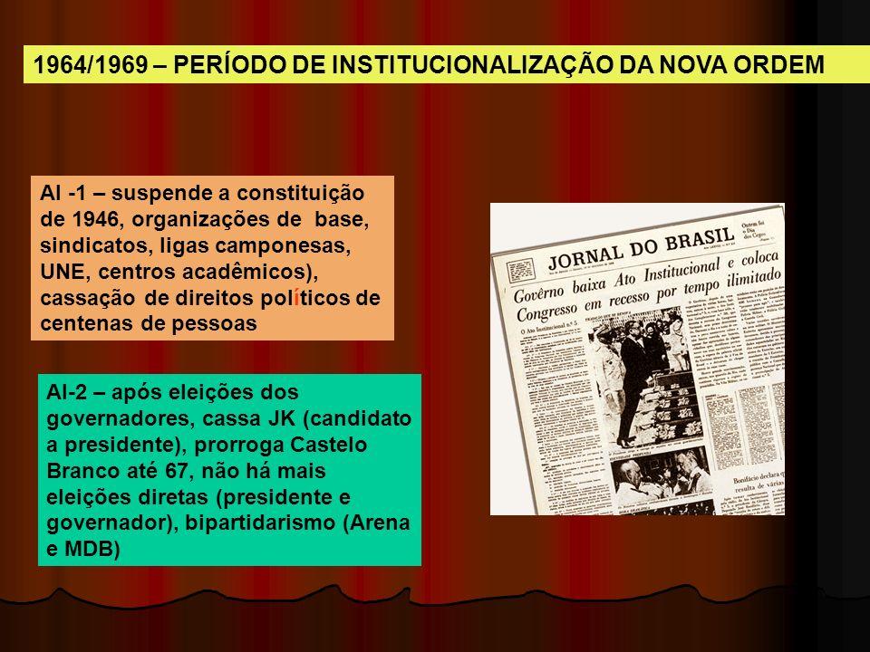 1964/1969 – PERÍODO DE INSTITUCIONALIZAÇÃO DA NOVA ORDEM