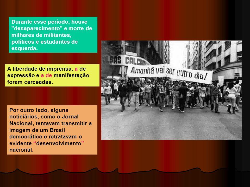 Durante esse período, houve desaparecimento e morte de milhares de militantes, políticos e estudantes de esquerda.