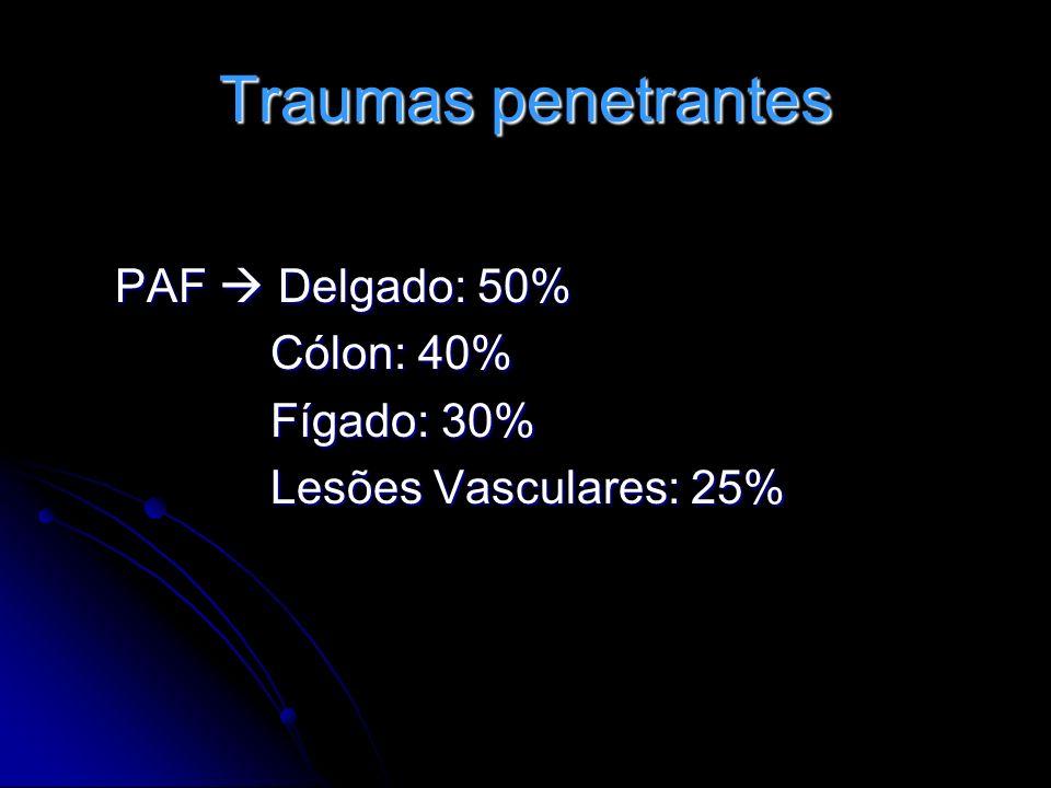 Traumas penetrantes PAF  Delgado: 50% Cólon: 40% Fígado: 30%