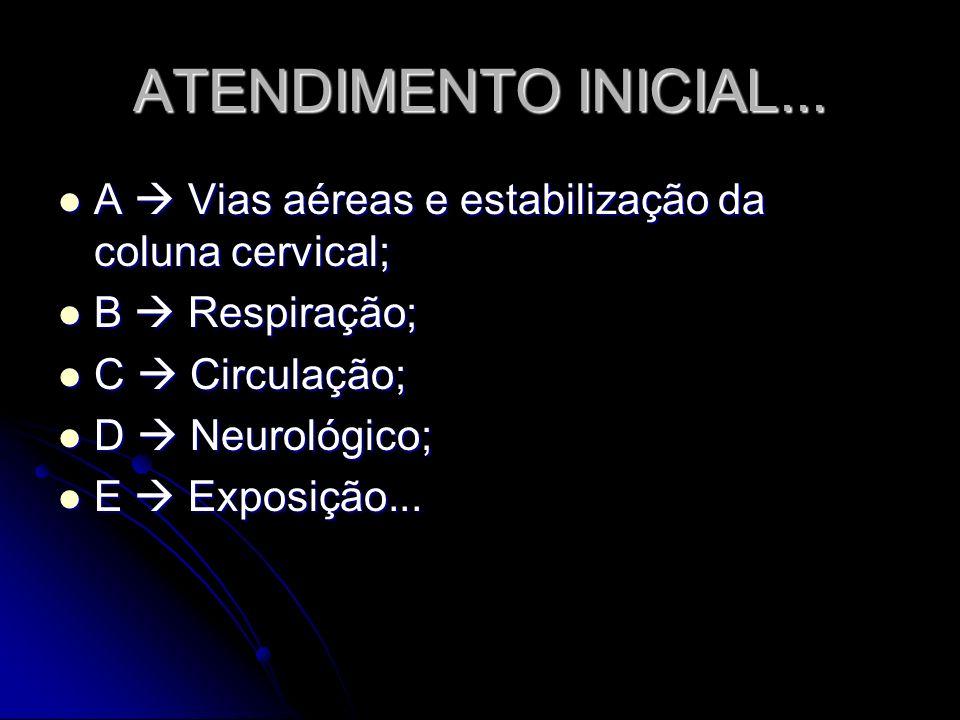 ATENDIMENTO INICIAL... A  Vias aéreas e estabilização da coluna cervical; B  Respiração; C  Circulação;