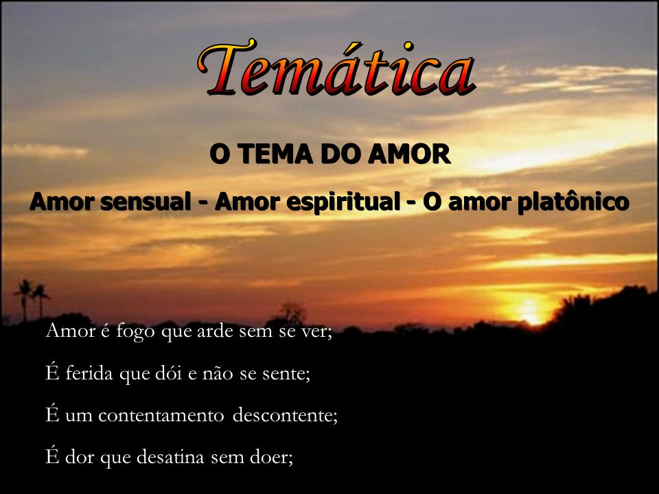 Amor sensual - Amor espiritual - O amor platônico