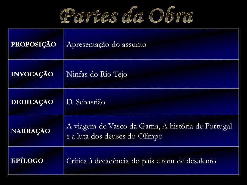Partes da Obra Apresentação do assunto Ninfas do Rio Tejo D. Sebastião