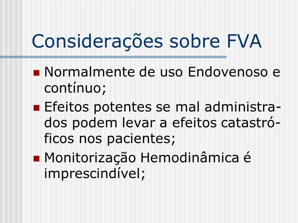 Considerações sobre FVA