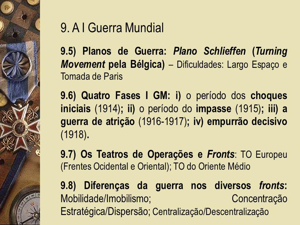 9. A I Guerra Mundial 9.5) Planos de Guerra: Plano Schlieffen (Turning Movement pela Bélgica) – Dificuldades: Largo Espaço e Tomada de Paris.