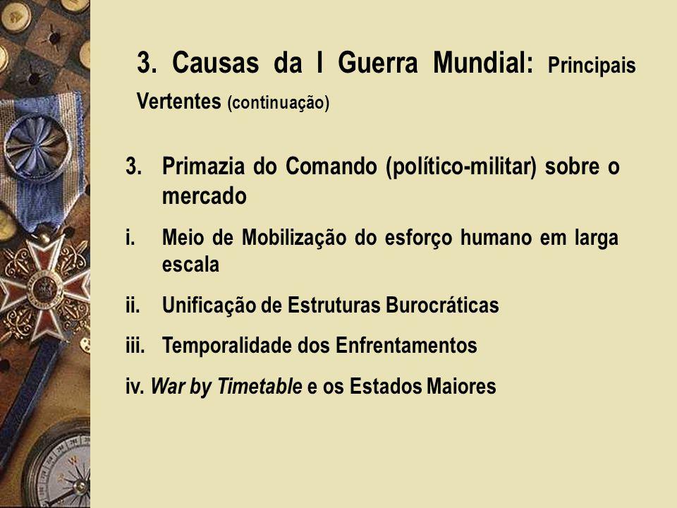 3. Causas da I Guerra Mundial: Principais Vertentes (continuação)
