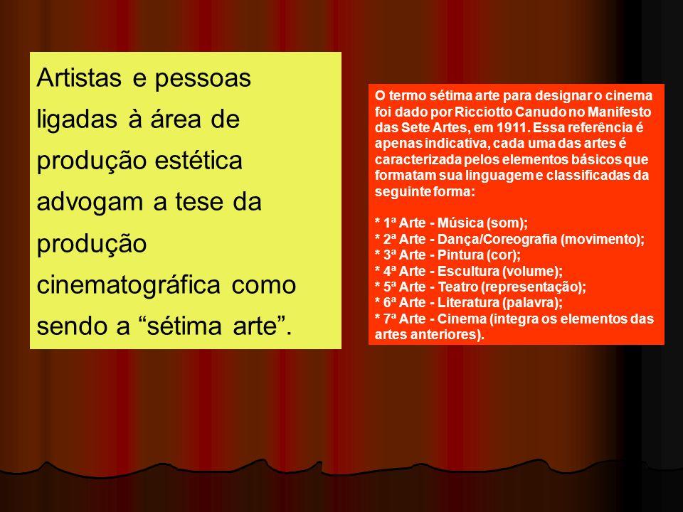Artistas e pessoas ligadas à área de produção estética advogam a tese da produção cinematográfica como sendo a sétima arte .