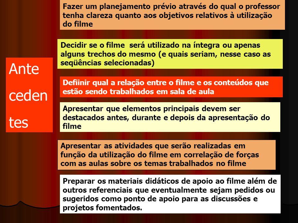 Fazer um planejamento prévio através do qual o professor tenha clareza quanto aos objetivos relativos à utilização do filme