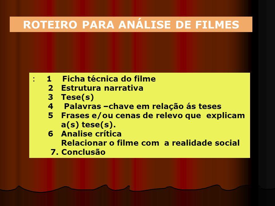 ROTEIRO PARA ANÁLISE DE FILMES