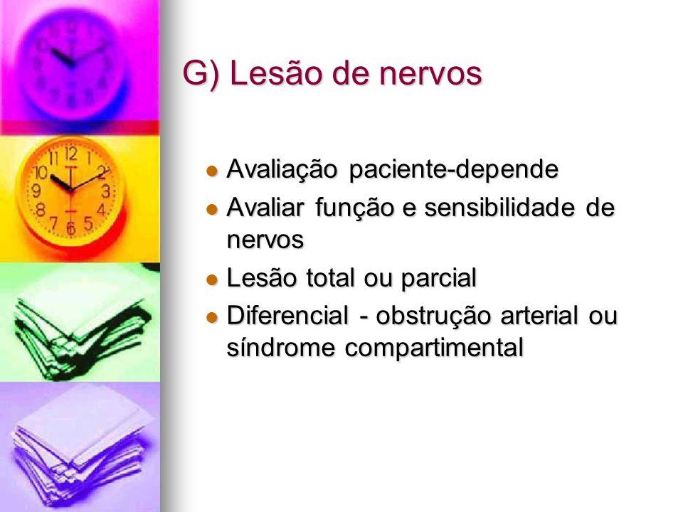 G) Lesão de nervos Avaliação paciente-depende