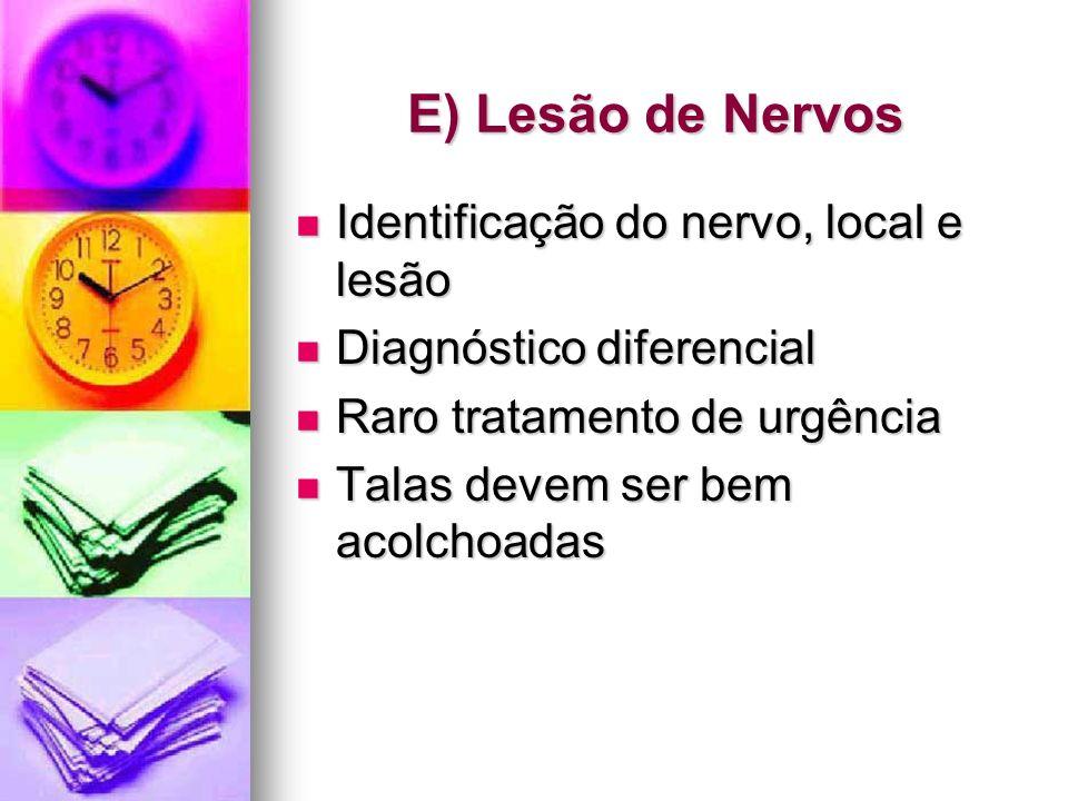 E) Lesão de Nervos Identificação do nervo, local e lesão