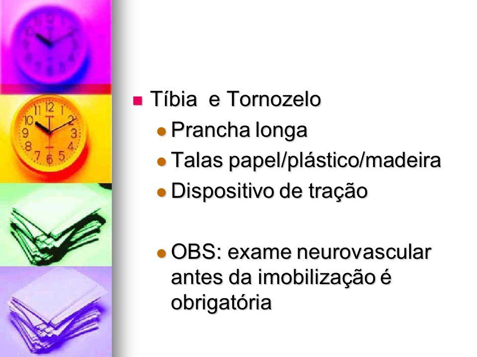 Tíbia e Tornozelo Prancha longa. Talas papel/plástico/madeira. Dispositivo de tração.