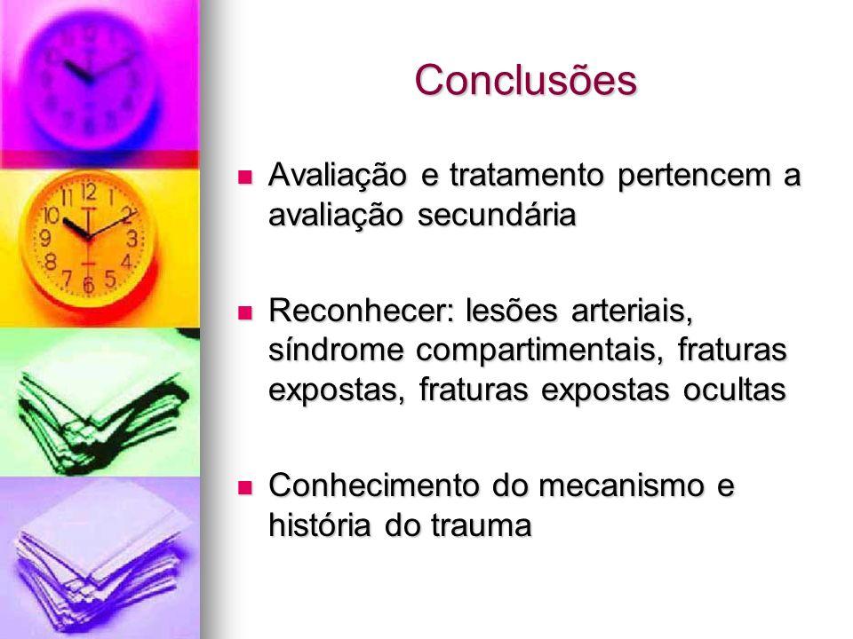 Conclusões Avaliação e tratamento pertencem a avaliação secundária