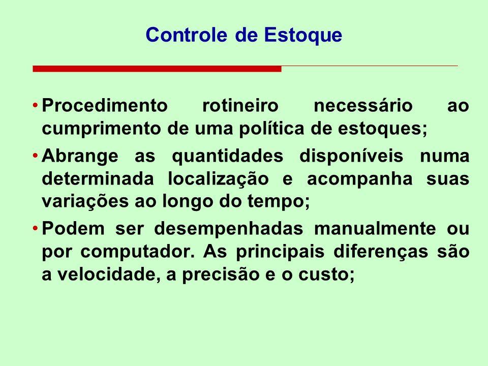 Controle de Estoque Procedimento rotineiro necessário ao cumprimento de uma política de estoques;