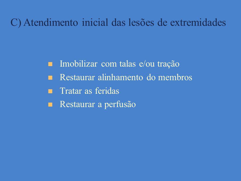 C) Atendimento inicial das lesões de extremidades