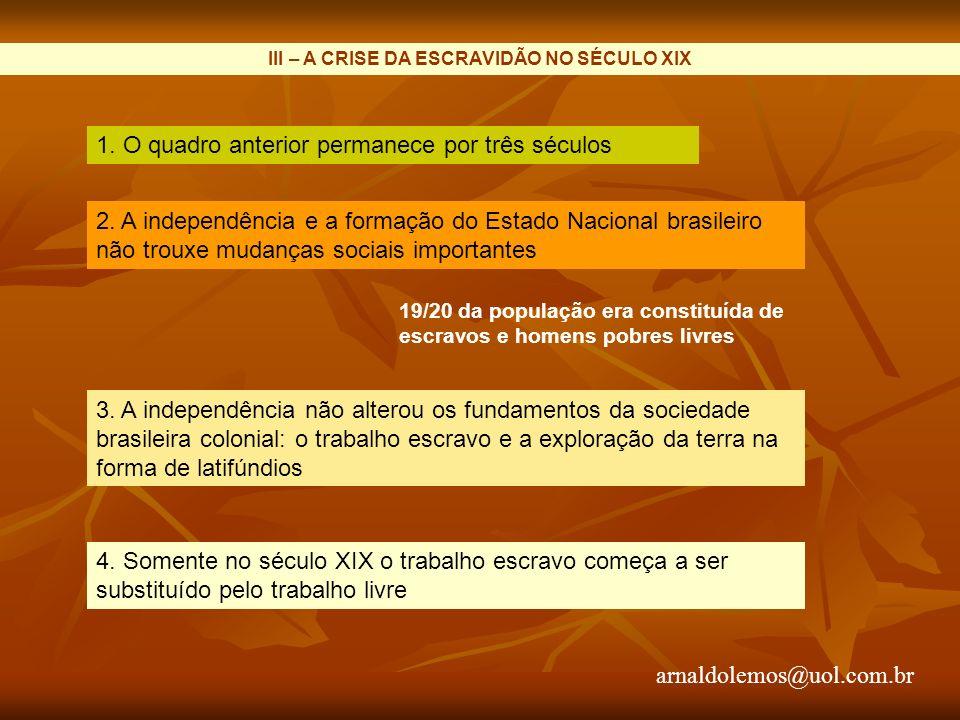 III – A CRISE DA ESCRAVIDÃO NO SÉCULO XIX