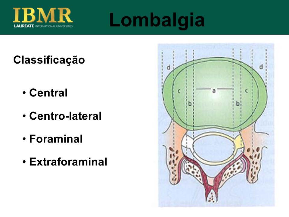 Lombalgia Classificação Central Centro-lateral Foraminal