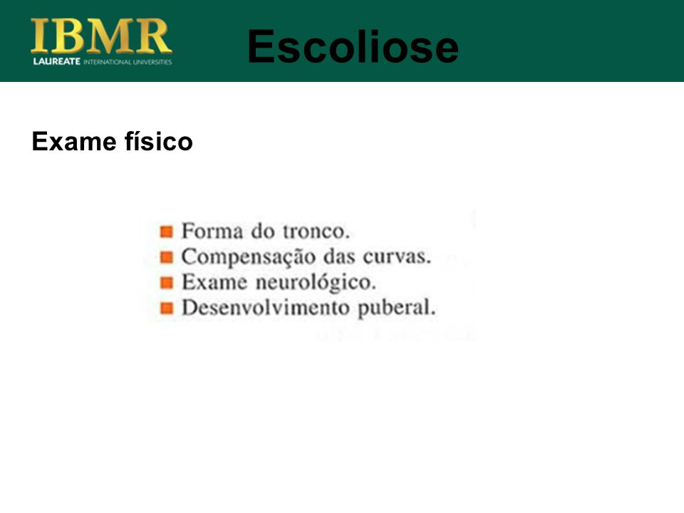 Escoliose Exame físico