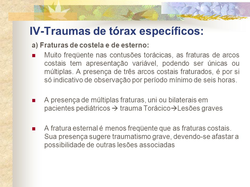 IV-Traumas de tórax específicos: