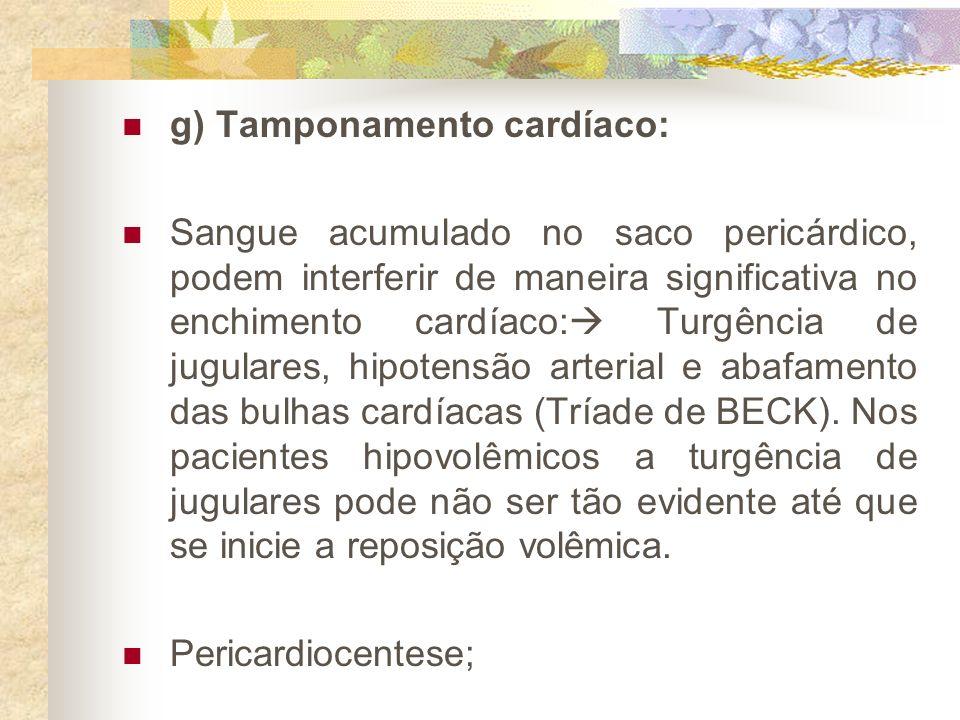g) Tamponamento cardíaco: