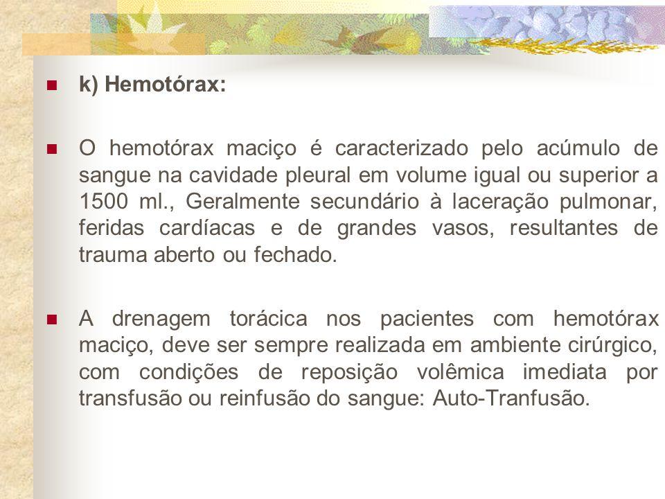 k) Hemotórax: