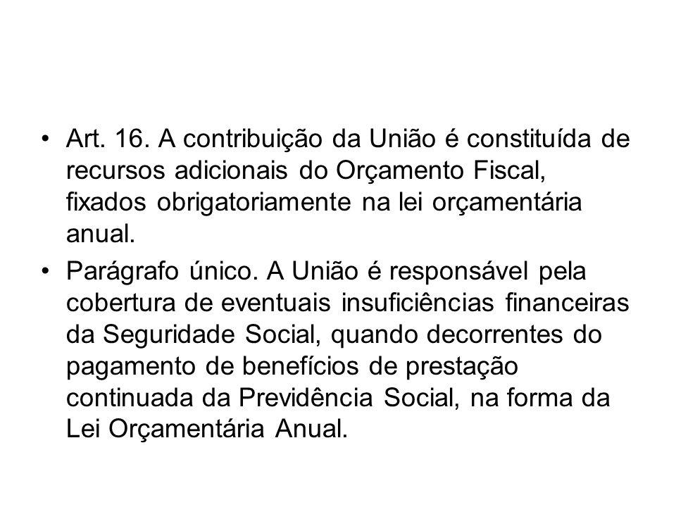 Art. 16. A contribuição da União é constituída de recursos adicionais do Orçamento Fiscal, fixados obrigatoriamente na lei orçamentária anual.