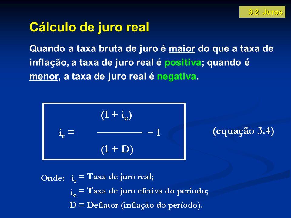 3.2 Juros Cálculo de juro real.