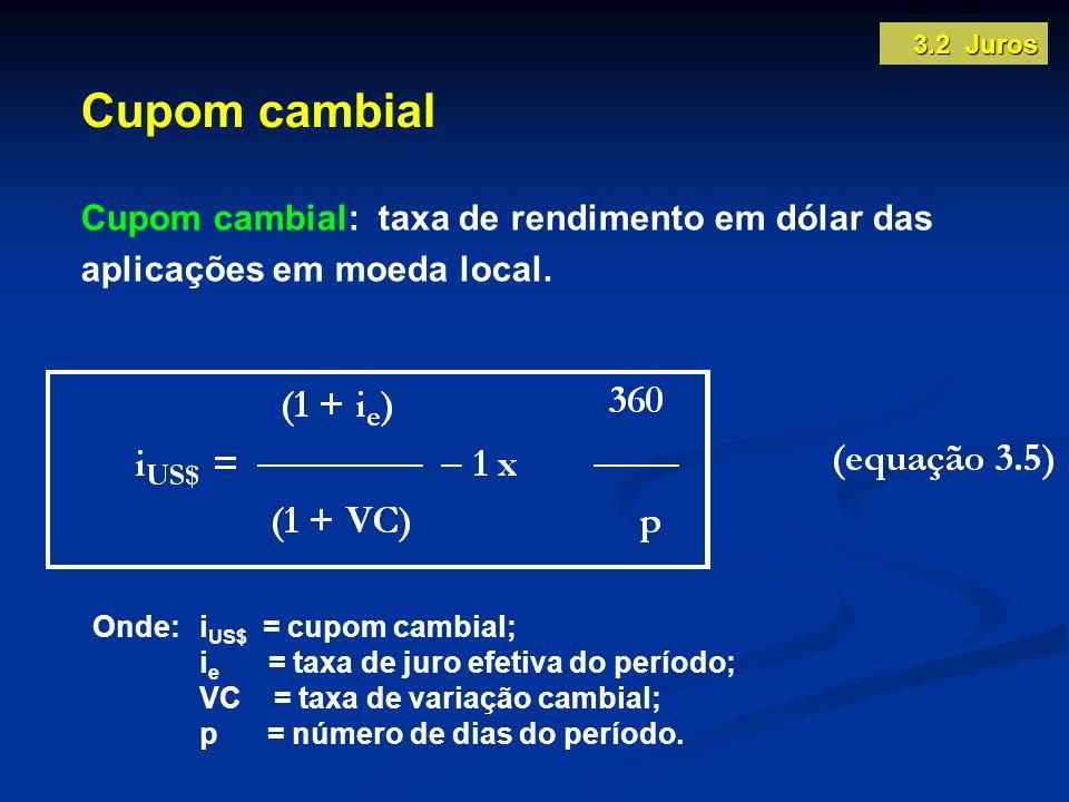 3.2 Juros Cupom cambial. Cupom cambial: taxa de rendimento em dólar das aplicações em moeda local.
