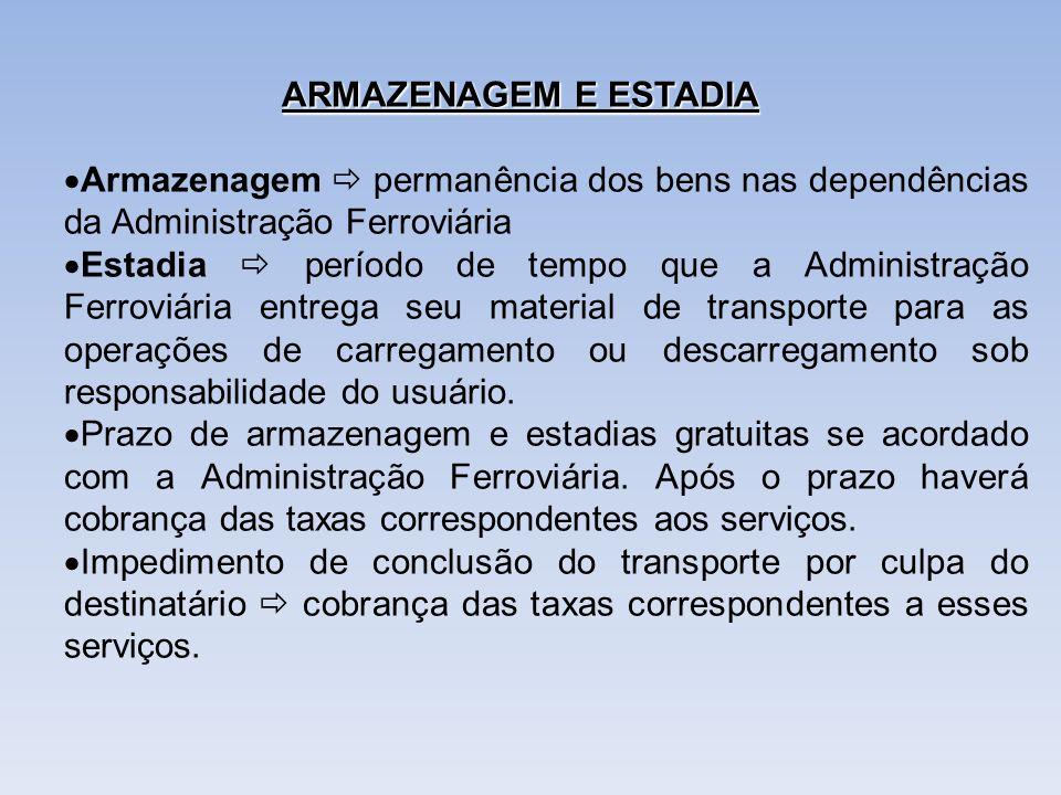 ARMAZENAGEM E ESTADIA Armazenagem  permanência dos bens nas dependências da Administração Ferroviária.