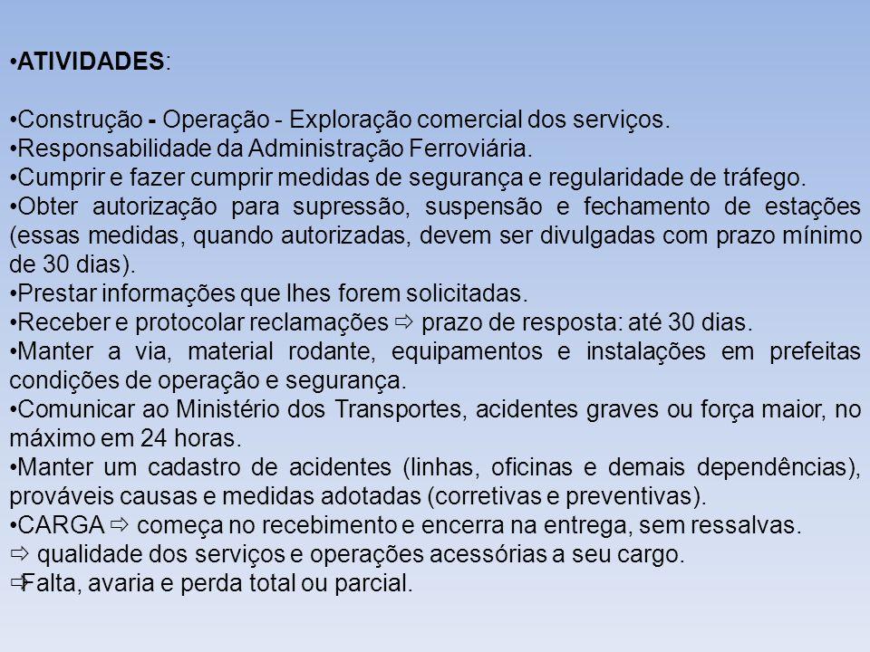 ATIVIDADES: Construção - Operação - Exploração comercial dos serviços. Responsabilidade da Administração Ferroviária.