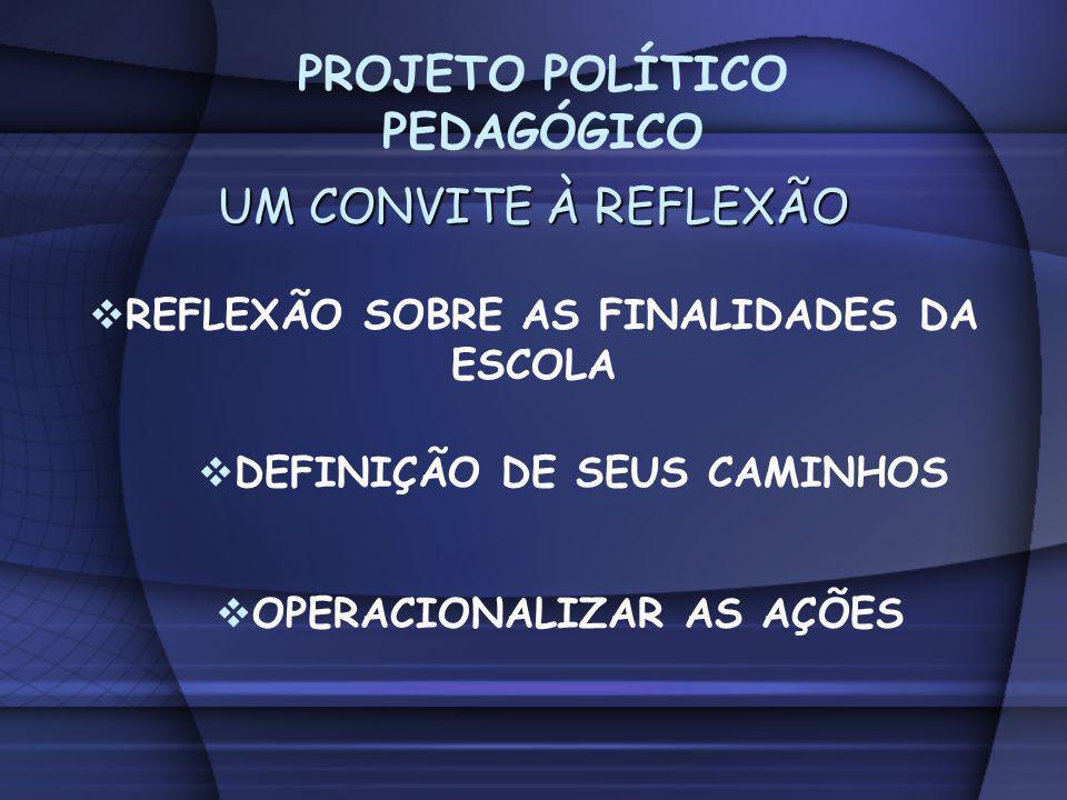 PROJETO POLÍTICO PEDAGÓGICO REFLEXÃO SOBRE AS FINALIDADES DA ESCOLA
