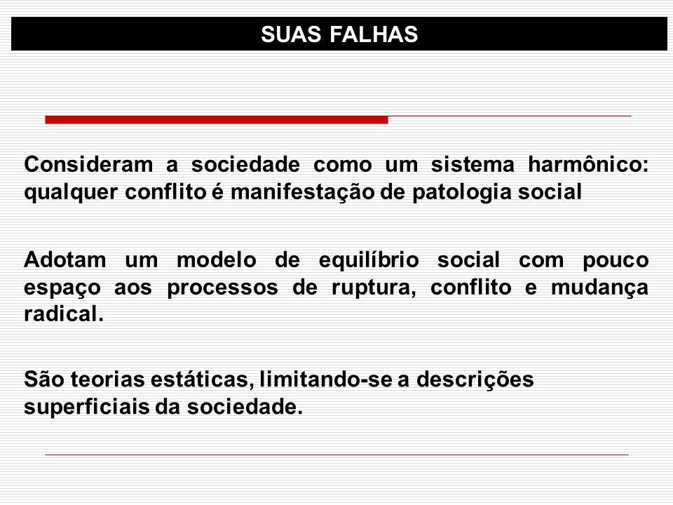 SUAS FALHASConsideram a sociedade como um sistema harmônico: qualquer conflito é manifestação de patologia social.