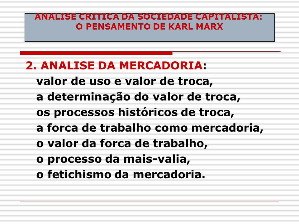 ANALISE CRITICA DA SOCIEDADE CAPITALISTA: O PENSAMENTO DE KARL MARX