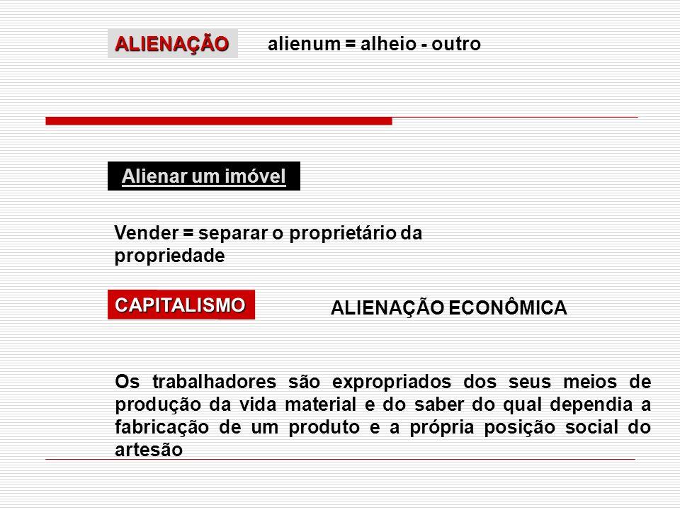 ALIENAÇÃO alienum = alheio - outro. Alienar um imóvel. Vender = separar o proprietário da propriedade.
