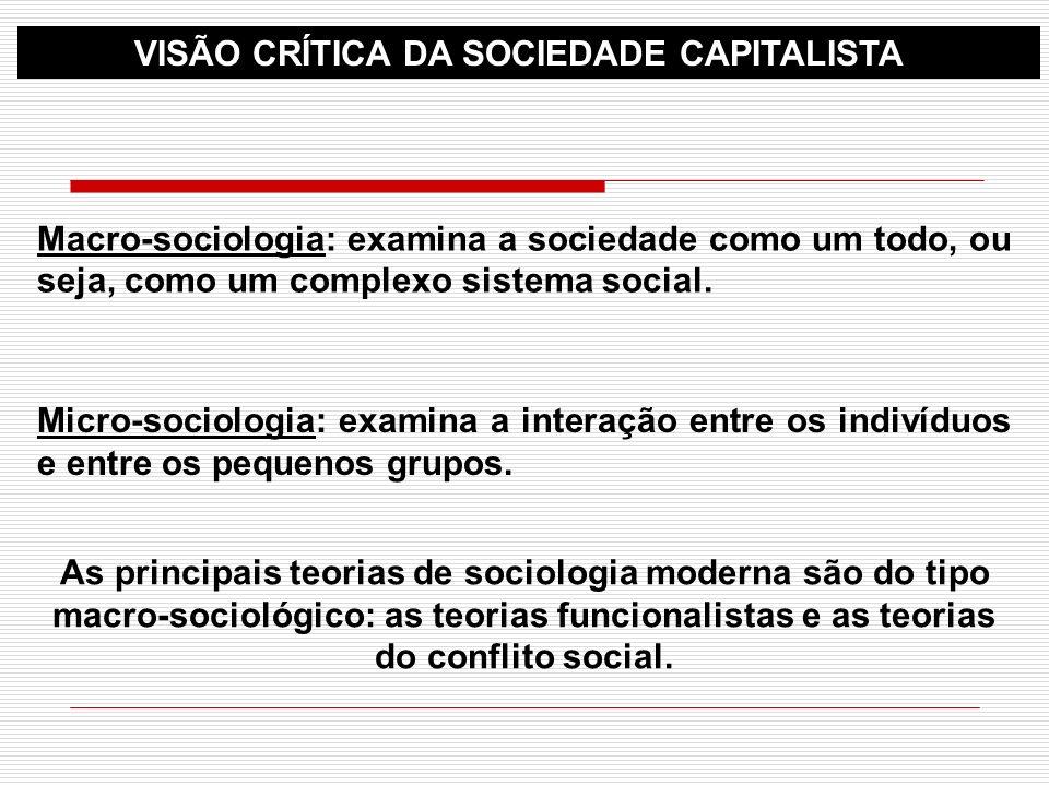 VISÃO CRÍTICA DA SOCIEDADE CAPITALISTA
