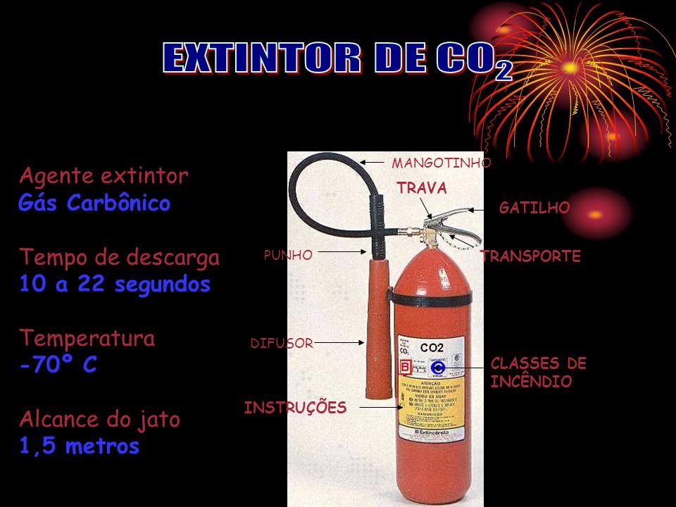 EXTINTOR DE CO2 Agente extintor Gás Carbônico Tempo de descarga